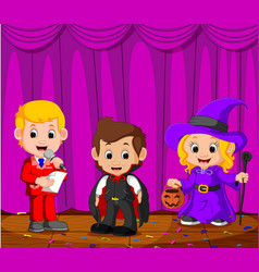 Kids performing on a stage vector