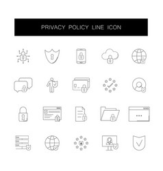 Line icons set privacy police pack vector
