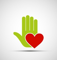 Logo of a human hand holding a red heart vector image