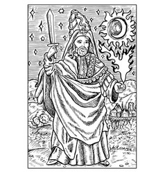 magician engraved fantasy vector image
