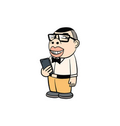 Man holding mobile phone action cartoon vector