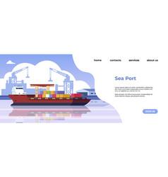 Marine port landing page maritime transportation vector