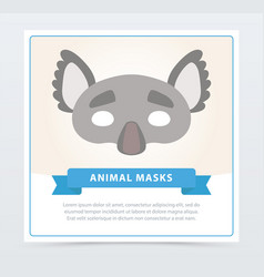 masquerade colorful mask of gray koala with cute vector image