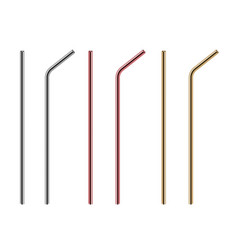 Metal straws reusable steel straw stainless bars vector