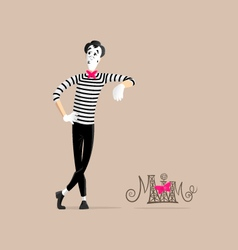 Mime performance - Leaning against the wall vector