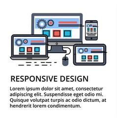 Modern editable flat line responsive design vector