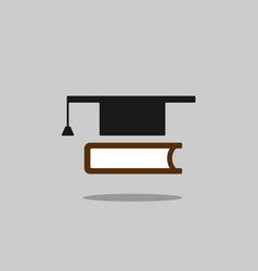 mortarboard with book icon on grey background vector image
