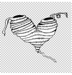 mummy monochrome heart hand drawn sketch vector image