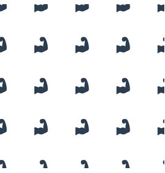 Muscular arm icon pattern seamless white vector