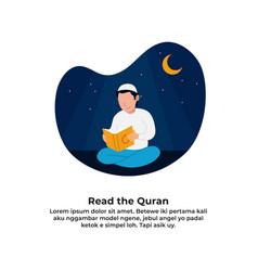 Muslim man reading holy quran for ramadan vector