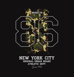 new york brooklyn t-shirt design with camouflage vector image