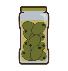 Olives in jar preserve food vector