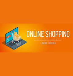 Online shopping banner vector