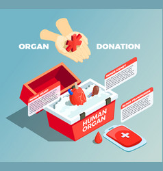 organ donation isometric composition vector image