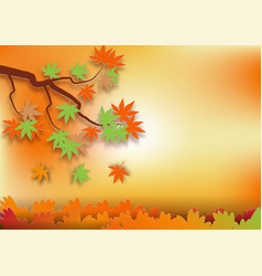 Paper art style for autumn concept abstract vector