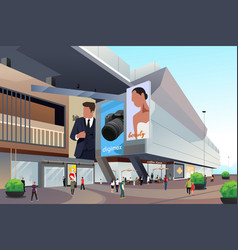 People outside shopping mall vector