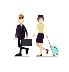 pilot and stewardess in vector image