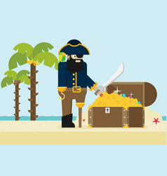 pirate and open treasure chest and pirates stuff vector image