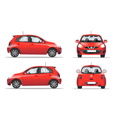 Red mini car side front and back view flat style vector