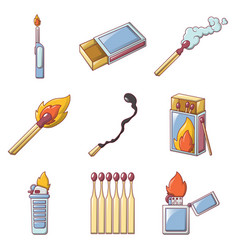 safety match ignite burn icons set cartoon style vector image