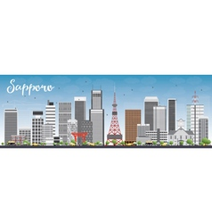 Sapporo Skyline with Gray Buildings and Blue Sky vector