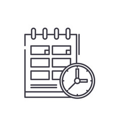 schedule line icon concept schedule linear vector image