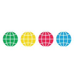 set colored earth icons placed on white vector image