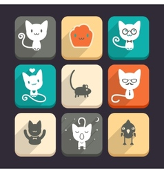 Set of cats and animal icons Part 1 vector image