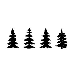 Set silhouette pine tree or christmas tree vector