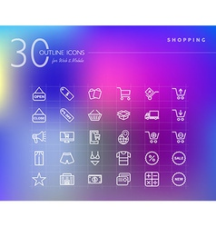 Shopping retail outline icons set vector