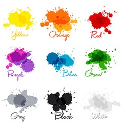 Signed the names of colors colorful watercolor vector