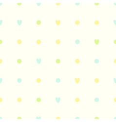 Simple seamless pattern polka dots with hearts vector