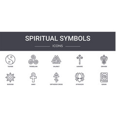 Spiritual symbols concept line icons set contains vector