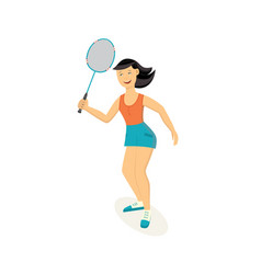 sport woman playing badminton with racket vector image