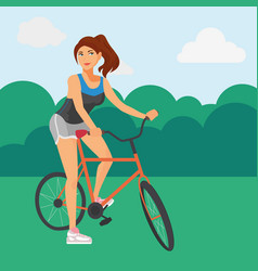 sportive woman riding a bicycle vector image