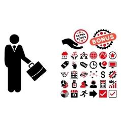 Standing Businessman Flat Icon with Bonus vector