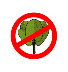 Stop spinach ban red sign prohibited green leaves vector