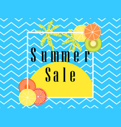 summer sale banner layout with fruits and palm vector image
