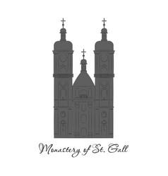 switzerland abbey of saint gall travel flat icon vector image
