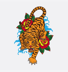 traditional tiger tattoo vector image
