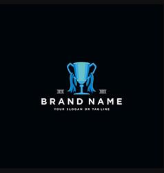 Trophy logo design vector