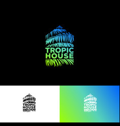 Tropic house logo resort spa emblem palm leaves vector