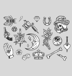 vintage tattoos composition vector image
