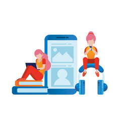 Women using smartphone and laptop elearning vector