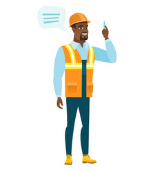 Young african-american builder with speech bubble vector