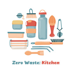 Zero waste eco lifestyle set of kitchen objects vector