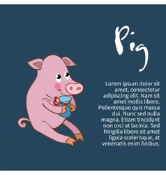 an isolated character pig vector image vector image
