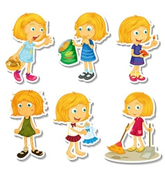 Blond girl doing different activities vector image vector image