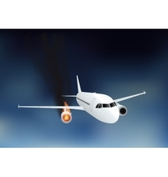 Falling damaged plane in fire vector image