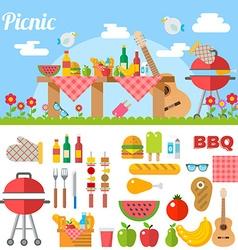 Flat Design Picnic BBQ elements vector image
